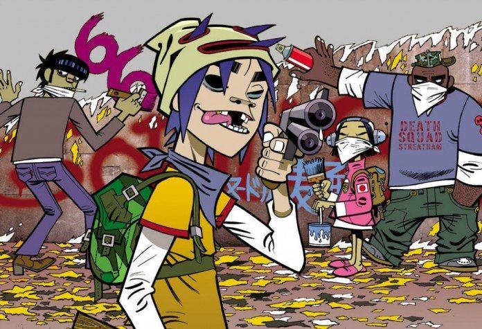 Dibujo de Gorillaz pintando una pared mientras apunta con una pistola
