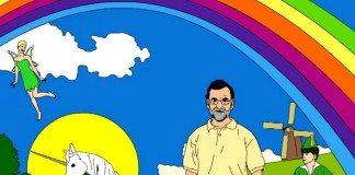 Dibujo de Mariano Rajoy junto a un arcoiris y un unicornio creado por Querido Antonio para Amaral