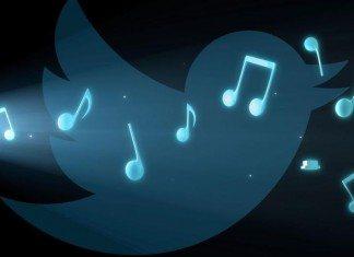 Pájaro de Twitter con notas musicales