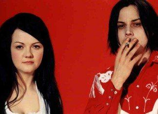 The White Stripes con fondo rojo