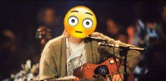 Kurt Cobian en el 'Unplugged' de Nirvana con un icono Emoji de cabeza.