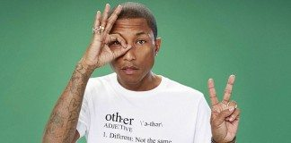 Pharrell Williams haciendo gestos con las manos