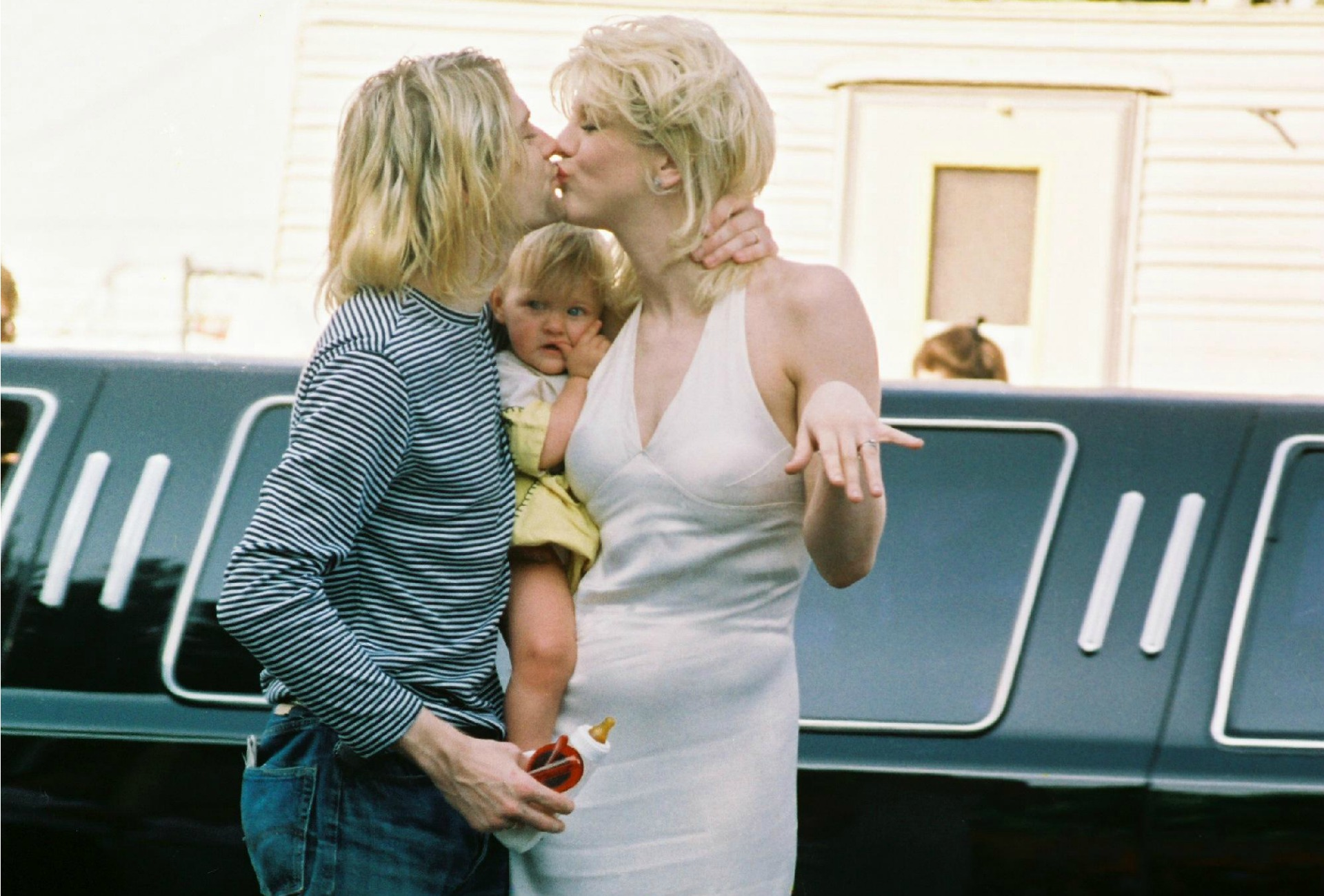 Kurt Cobain y Courtney Love con su hija