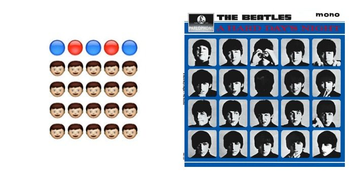 Portada de 'A Hard Day Night' de The Beatles en Emoji.
