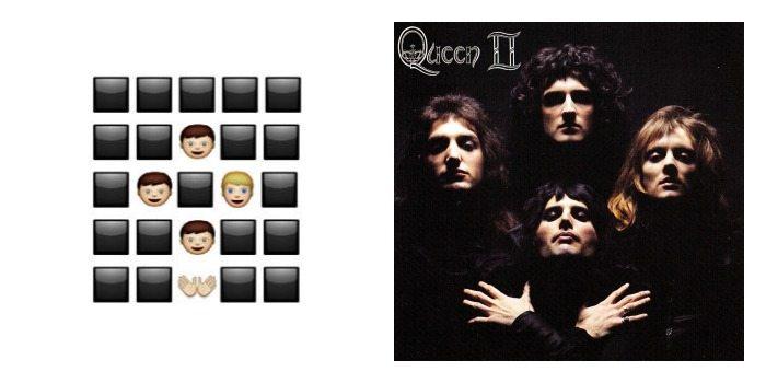Portada de 'Queen II' de Queen en Emoji.