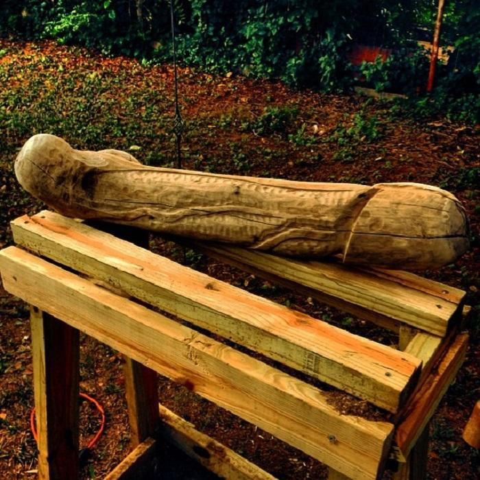 Pene gigante de madera