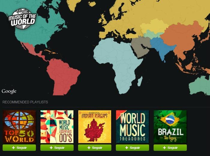Pantalla de la aplicación de Music of the World.