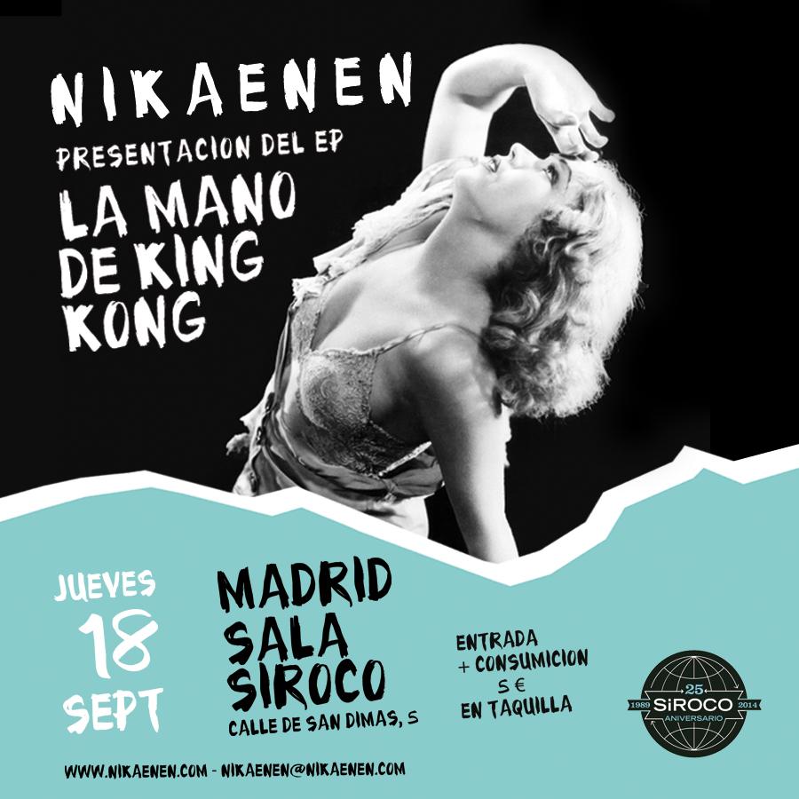 Cartel del concierto presentación de 'La Mano De King Kong' de Nikaenen