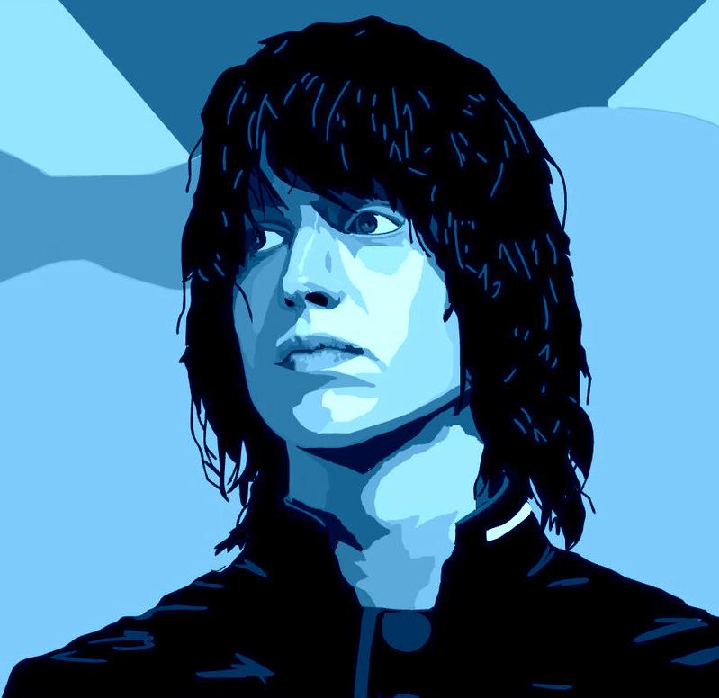 Dibujo de Julian Casablancas en tonos azules